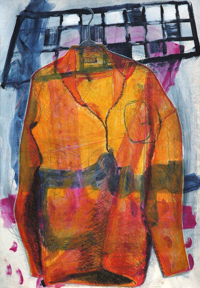 Angelika Beuler, ›Orange Jacket‹, Köln 2017, 100 x 70 cm, Mischtechnik auf Papier